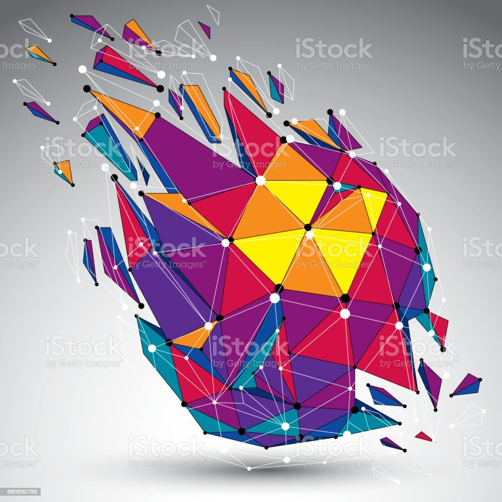 Abstract colorful vector low poly wrecked object with black lines and dots connected. 3d origami futuristic form with lines mesh. royalty-free abstract colorful vector low poly wrecked object with black lines and dots connected 3d origami futuristic form with lines mesh stock vector art & more images of abstract