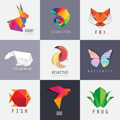 Abstract colorful vibrant animal icon design set collection
