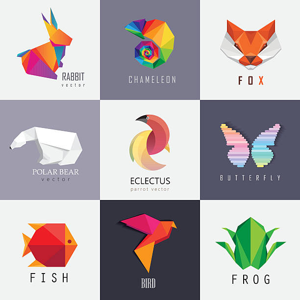 abstract colorful vibrant animal icon design set collection - chameleon stock illustrations
