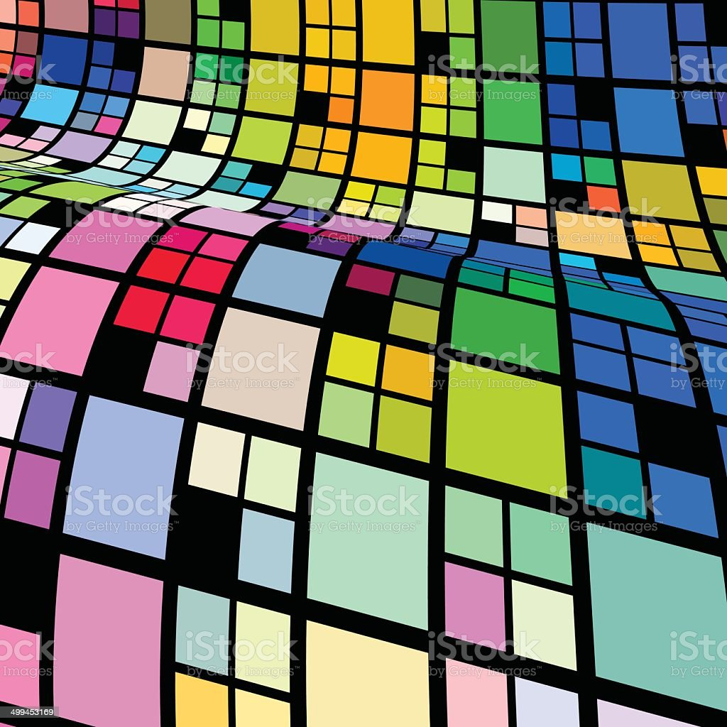 abstract colorful wave check pattern background vector art illustration