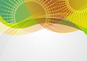Abstract colorful waves with halftone circles graphic design. Vector background