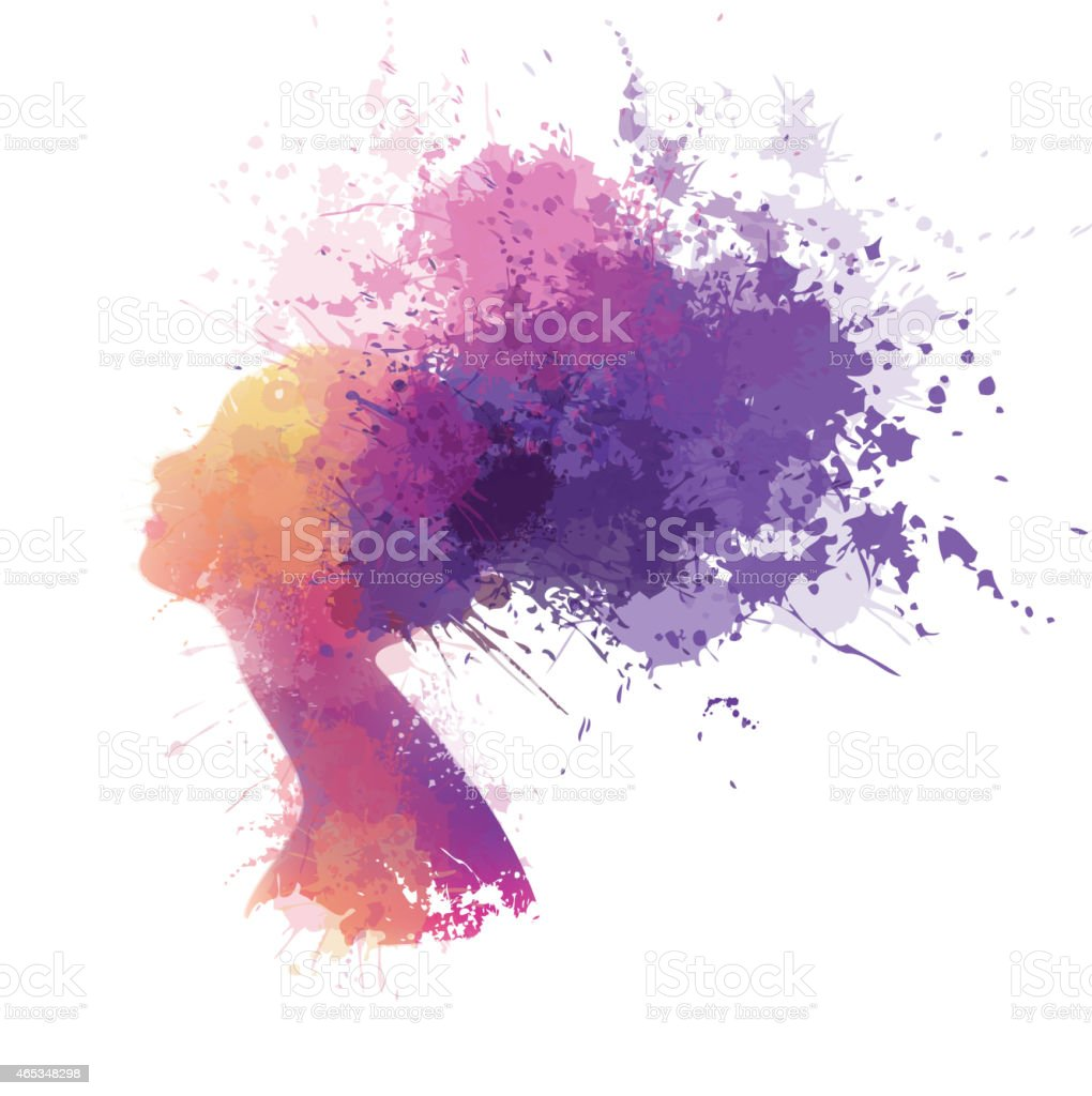 Abstract colorful woman portrait vector art illustration