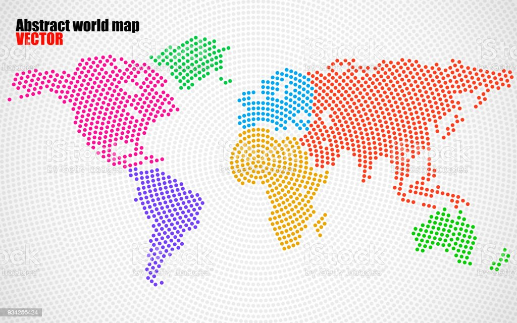 Colorful World Map Art.Abstract Colorful World Map Of Radial Dots Stock Vector Art More