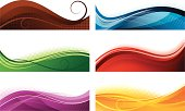Vector illustration of six different and multicolored abstract banners. Each banner grouped. Only simple gradient used.