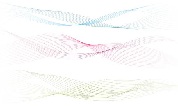 stockillustraties, clipart, cartoons en iconen met abstract kleurrijk golf element voor design. digitale frequentie track equalizer. gestileerde lijn kunst achtergrond. vector illustratie. wave met lijnen gemaakt met behulp van blend tool. gebogen golvende lijn, gladde streep - golvend haar