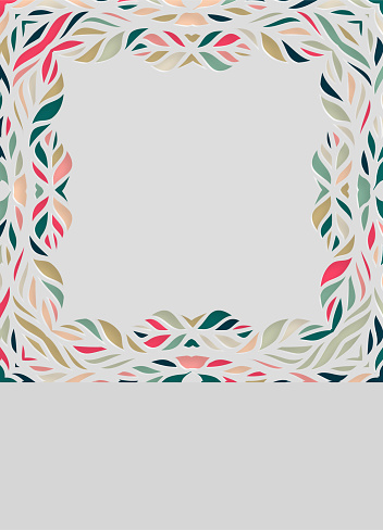 abstract colors floral paper cut style flat pattern background