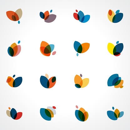 Abstract colors floral pattern icon collection