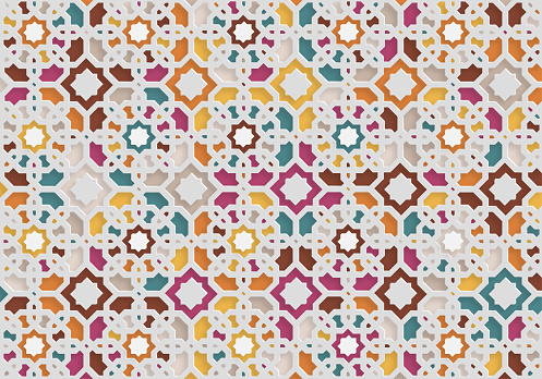 abstract colors papercutting style ornate floral pattern background design