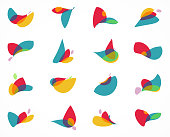 Abstract colors twisted floral pattern icon collection for design