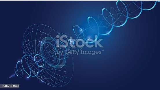 Abstract technology background. Abstract communication satellite dish transmits and receives a radio signal. Directional signal radiates in a spiral. VECTOR