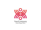 Abstract community circle people icon. united union design concept icon template vector illustration