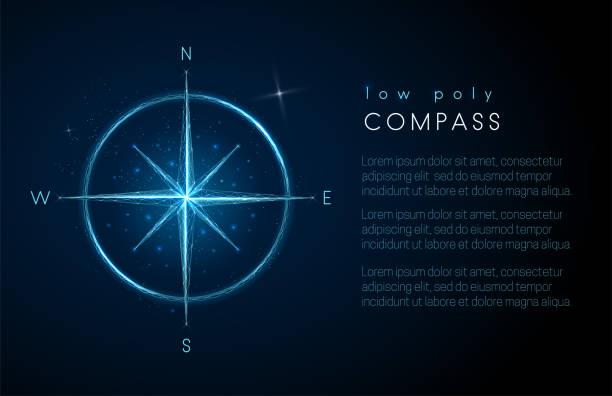 stockillustraties, clipart, cartoons en iconen met abstract kompas icoon. laag poly stijl ontwerp - new world