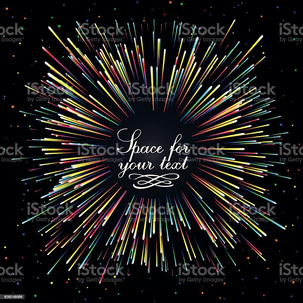 Abstract composition in the form of an explosion of fireworks vector art illustration