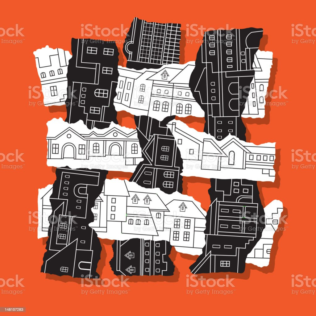 Abstract composition is a city royalty-free abstract composition is a city stock vector art & more images of black color