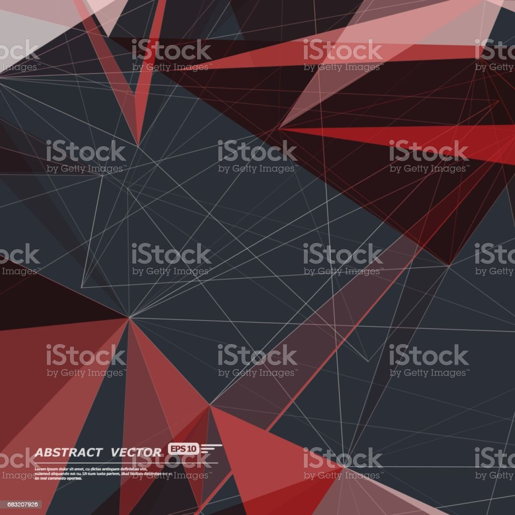 Abstract composition. Minimalistic fashion backdrop design. Black, red polygonal figure icon. Triangle font texture. Creative banner. Angle connection fiber. Linking lines ornament. Stock vector art royalty-free abstract composition minimalistic fashion backdrop design black red polygonal figure icon triangle font texture creative banner angle connection fiber linking lines ornament stock vector art stock vector art & more images of abstract