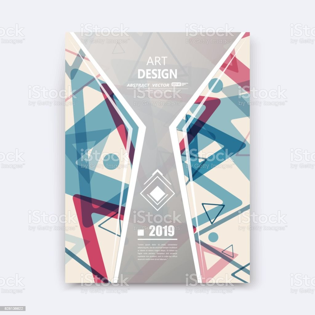 Creative Design To Cover Notebook ~ Abstract composition notebook cover font texture blue red triangle