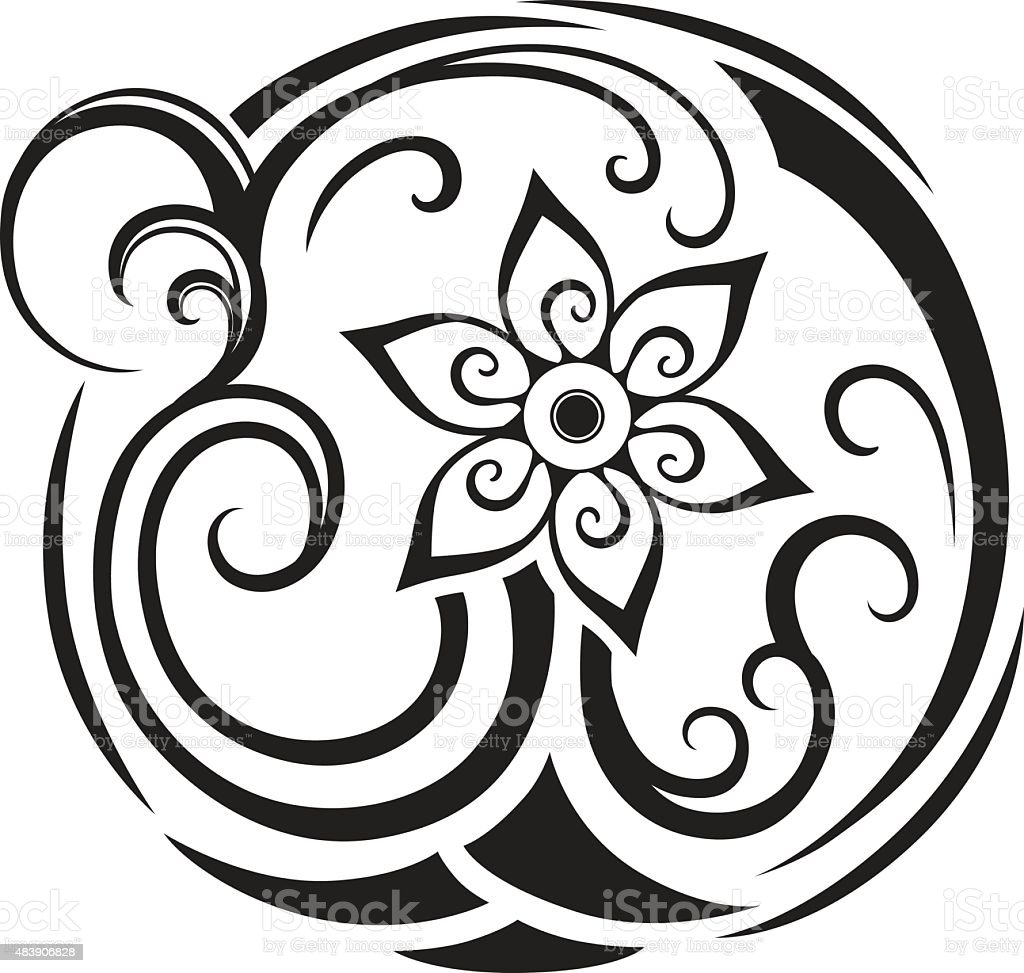 Abstract composition of the ornaments in the polynesian style vector art illustration