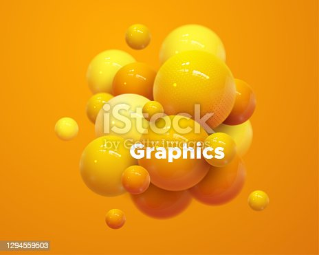 istock Abstract composition with 3d spheres cluster. 1294559503