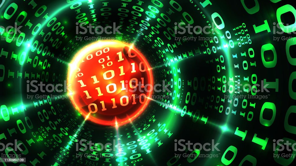 Abstract computer data background matrix binary code, data stream,...