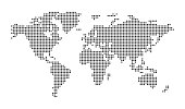 istock Abstract computer graphic pixel dotted world map. Vector illustration. 1194258421