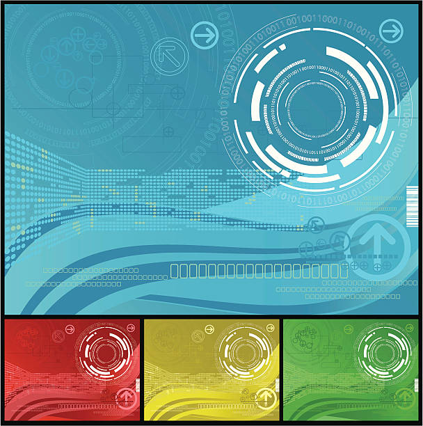Abstract computer themed backgrounds in various colors vector art illustration