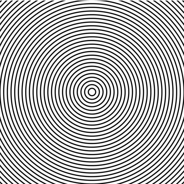 ilustrações, clipart, desenhos animados e ícones de resumo concêntrico círculos textura nas cores preto e brancas, padrão de fundo em estilo moderno. - texturas de riscos