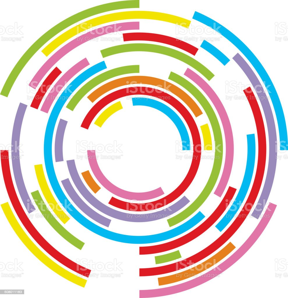 Abstract concentric circles vector art illustration