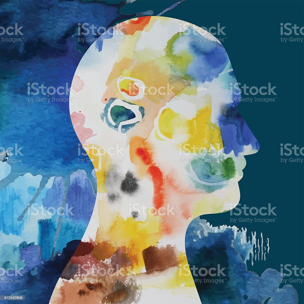 Abstract Concept Watercolor Montage vector art illustration