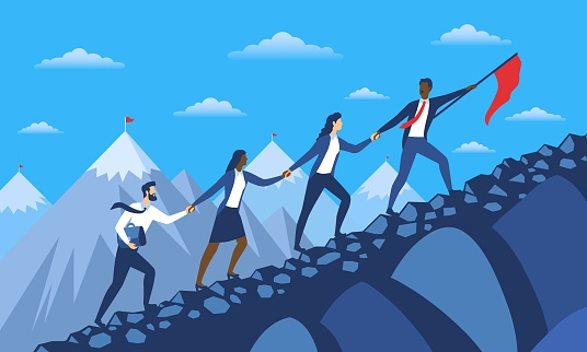 Abstract concept of way to achieve business success and leadership. Diverse multiracial team of specialists climbing mountain holding hands. Flat cartoon vector illustration with fictional characters