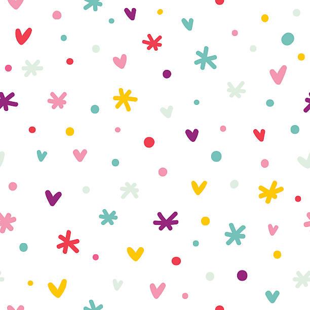 abstrakte konfetti, herzen und sternen nahtlose muster - niedliche hintergründe stock-grafiken, -clipart, -cartoons und -symbole