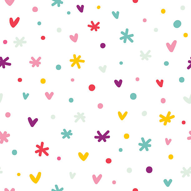Abstract confetti, hearts and stars seamless pattern vector art illustration