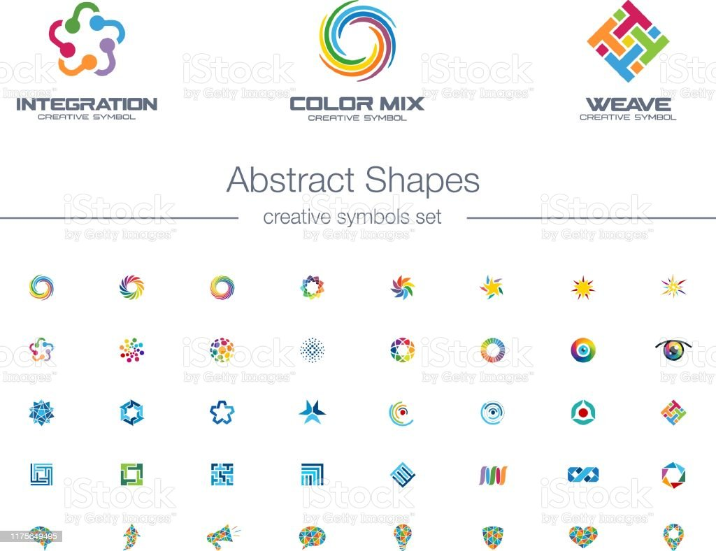 Abstrakte Verbindungen kreative Symbole gesetzt. - Lizenzfrei Abstrakt Vektorgrafik