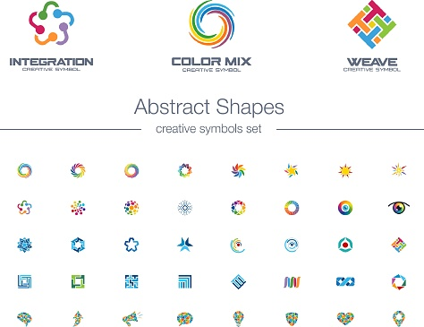 Abstrakte Verbindungen Kreative Symbole Gesetzt Stock Vektor Art und mehr Bilder von Abstrakt