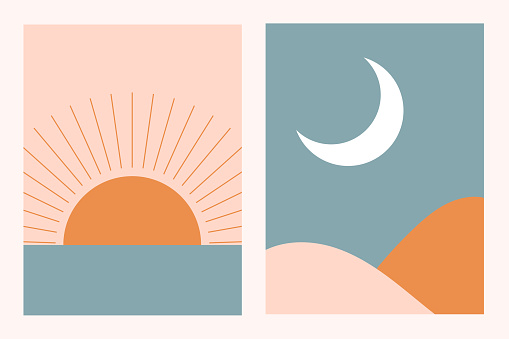 Abstract contemporary aesthetic background landscape set with Sun, Moon, sea, mountains. Earth tones, pastel colors. Boho wall decor. Mid century modern minimalist art print. Flat abstract design.