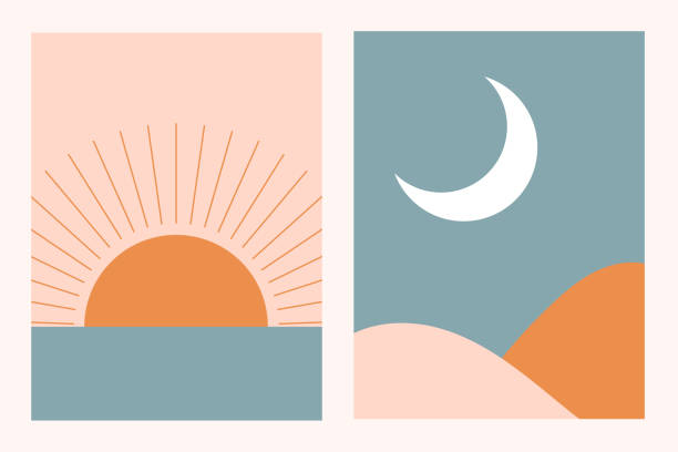 stockillustraties, clipart, cartoons en iconen met abstract eigentijds esthetisch achtergrondlandschap dat met zon, maan, overzees, bergen wordt geplaatst. aardetinten, pastelkleuren. boho muur decor. mid eeuw moderne minimalistische kunst print. plat abstract ontwerp. - boho