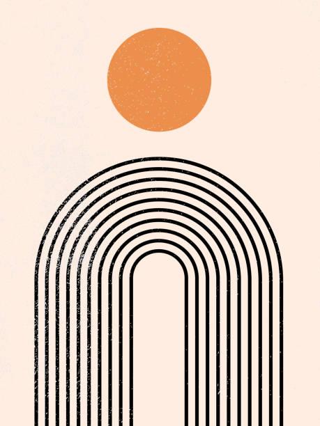 stockillustraties, clipart, cartoons en iconen met abstracte eigentijdse esthetische achtergrond met geometrische balansvormen, regenboog en zon. zwart en goud. boho muur decor. mid eeuw moderne minimalistische kunst print. organische natuurlijke vorm. lijnkunst. - boog architectonisch element