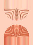 istock Abstract contemporary aesthetic background with geometric balance shapes, rainbow gates. Boho wall decor. Mid century modern minimalist neutral art print. Organic shape. Terracotta color, earth tone. 1226360736
