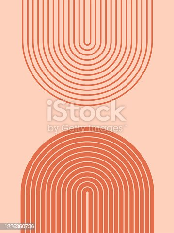 istock Abstract contemporary aesthetic background with geometric balance shapes, rainbow gates. Boho wall decor. Mid century modern minimalist neutral art print. Organic shape. Terracotta color, earth tone. 1226360736