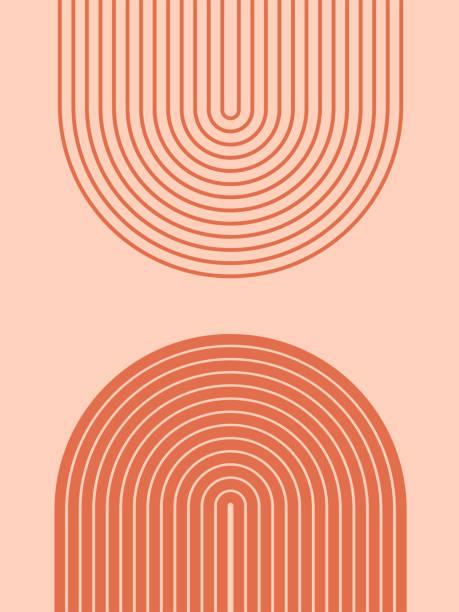 illustrazioni stock, clip art, cartoni animati e icone di tendenza di sfondo estetico contemporaneo astratto con forme geometriche di equilibrio, porte arcobaleno. arredamento parete boho. stampa d'arte minimalista minimalista moderna di metà secolo. forma organica. colore terracotta, tono di terra. - semplicità