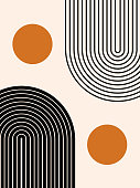 istock Abstract contemporary aesthetic background with geometric balance shapes, two rainbow and sun circles. Boho wall decor. Mid century modern minimalist print. Neutral Geometric art. Organic shape. 1240301331