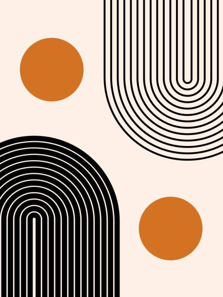 Abstract contemporary aesthetic background with geometric balance shapes, two rainbow and sun circles. Boho wall decor. Mid century modern minimalist print. Neutral Geometric art. Organic shape. Vector illustration simplicity stock illustrations