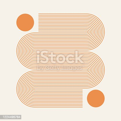 istock Abstract contemporary aesthetic background with geometric Sun lines. Earth tone, golden color. Boho wall decor. Mid century modern minimalist art print. Organic natural shape. 1224495764