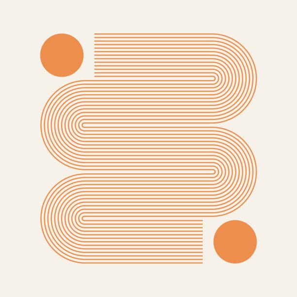 stockillustraties, clipart, cartoons en iconen met abstracte eigentijdse esthetische achtergrond met geometrische lijnen van de zon. aarde toon, gouden kleur. boho muur decor. mid eeuw moderne minimalistische kunst print. organische natuurlijke vorm. - pattern