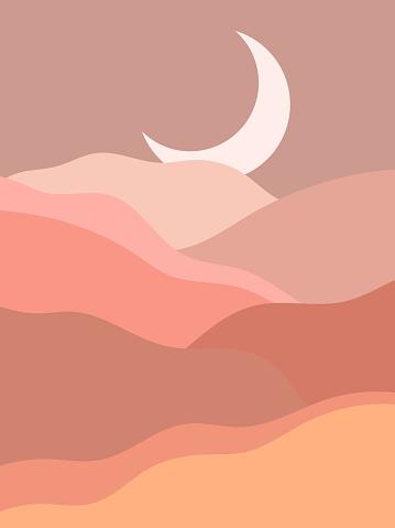 Abstract contemporary aesthetic background with landscape, desert, mountain, Moon. Earth tones, burnt orange, terracotta colors. Boho wall decor. Mid century modern minimalist art print. Organic shape