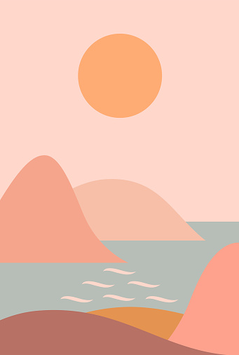 Abstract contemporary aesthetic background with seascape, mountains, Sun, sea. Earth tones, terracotta pastel colors. Boho wall decor. Mid century modern minimalist art print. Organic shapes.