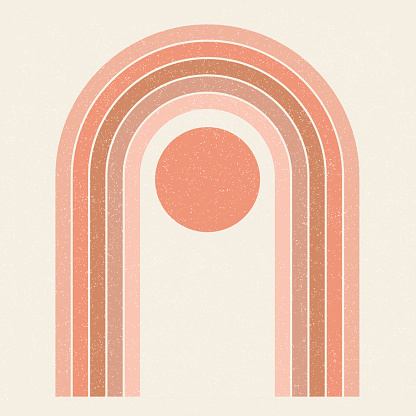 Abstract contemporary aesthetic background with Sun and geometric rainbow gates. Terracotta colors. Boho wall decor. Mid century modern minimalist art print. Organic natural shape. Magic concept.