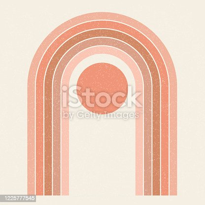 istock Abstract contemporary aesthetic background with Sun and geometric rainbow gates. Terracotta colors. Boho wall decor. Mid century modern minimalist art print. Organic natural shape. Magic concept. 1225777545