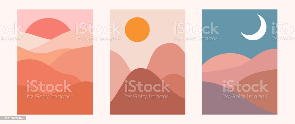 Abstract Contemporary Aesthetic Backgrounds Landscapes Set With Sunrise Sunset Night Earth Tones Pastel Colors Boho Wall Decor Mid Century Modern Minimalist Art Print Flat Design Stock Illustration Download Image Now Istock