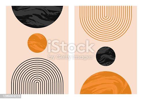 istock Abstract contemporary aesthetic backgrounds set with geometric balance shapes, rainbow and sun. Boho wall decor. Mid century modern minimalist art print. Organic shape. 1289353223