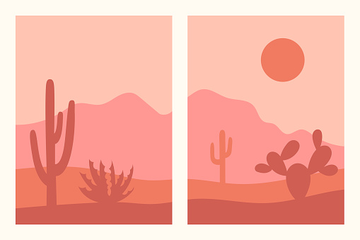 Abstract contemporary aesthetic backgrounds set with southwestern landscape, desert, mountains, cactuses. Earth tones, terracotta colors. Boho wall decor. Mid century modern minimalist art print.